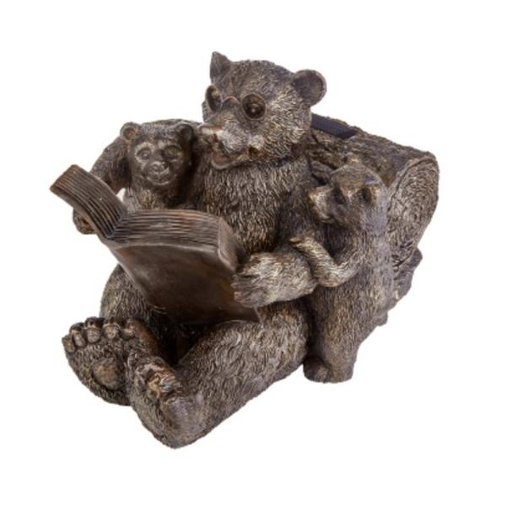 8.1 in. H Reading Bear Family Solar Statue