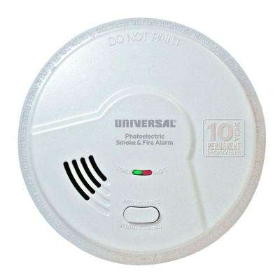 10 Year Sealed, Battery Operated, Photoelectric Smoke and Fire Detector, Microprocessor Intelligence