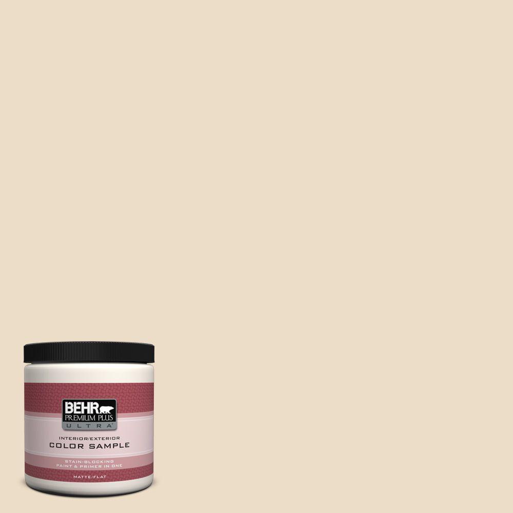 BEHR Premium Plus Ultra 8 oz. #710C-2 Raffia Cream Flat Interior/Exterior Paint and Primer in One Sample