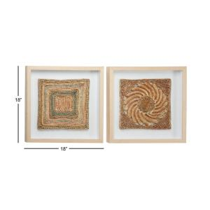 Abstract Earth Tone Rope And Wood Wall Art Set Of 2