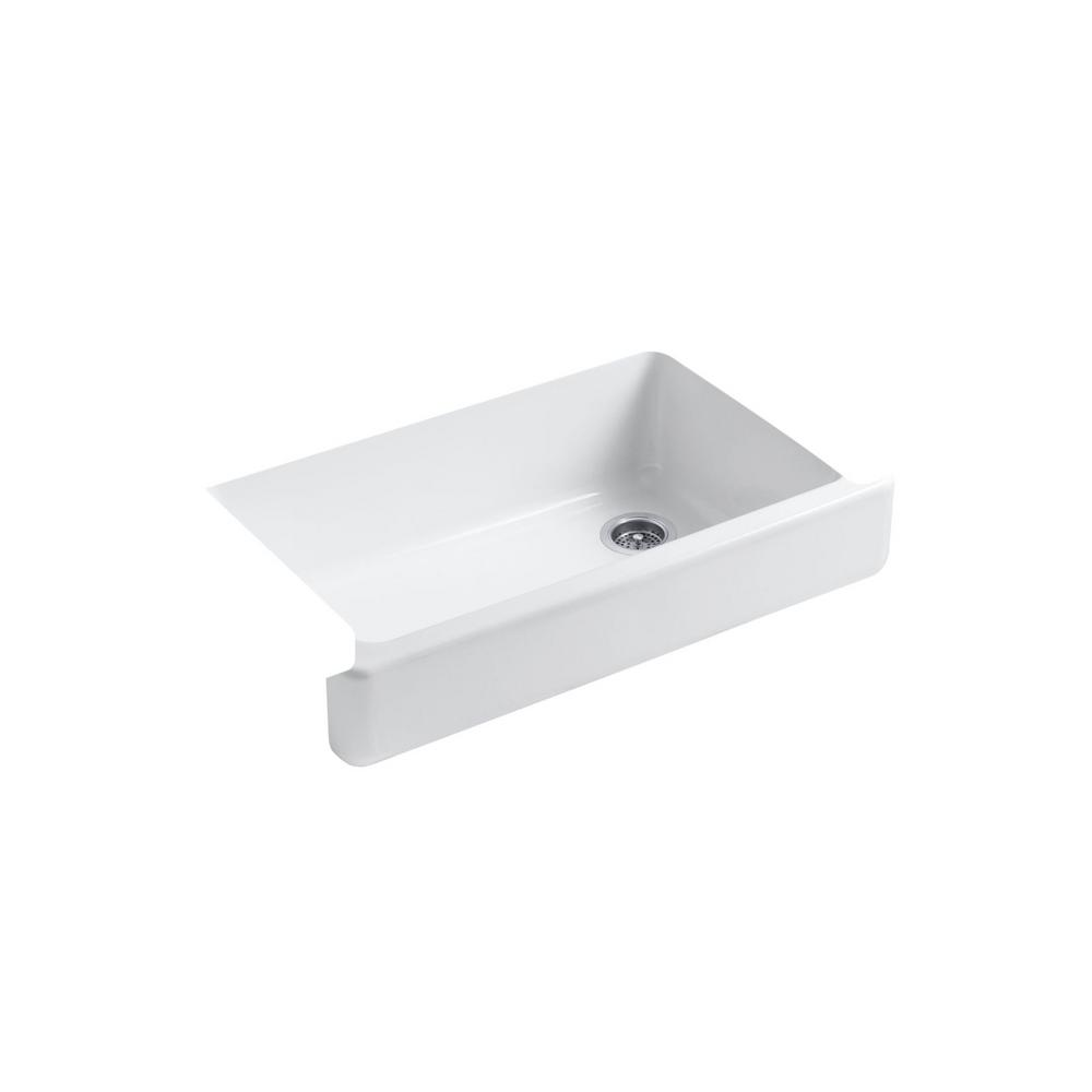 Kohler Whitehaven Undermount Cast Iron 35 5 In Single Bowl Kitchen Sink White