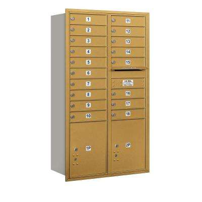 55 in. H x 31-1/8 in. W Gold Rear Loading 4C Horizontal Mailbox with 18 MB1 Doors/2 PL5's