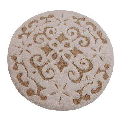 Damask 36 in. Round Cotton Beige/Ivory Latex Spray Non-Skid Backing 200 GSF Machine Washable Bath Rug
