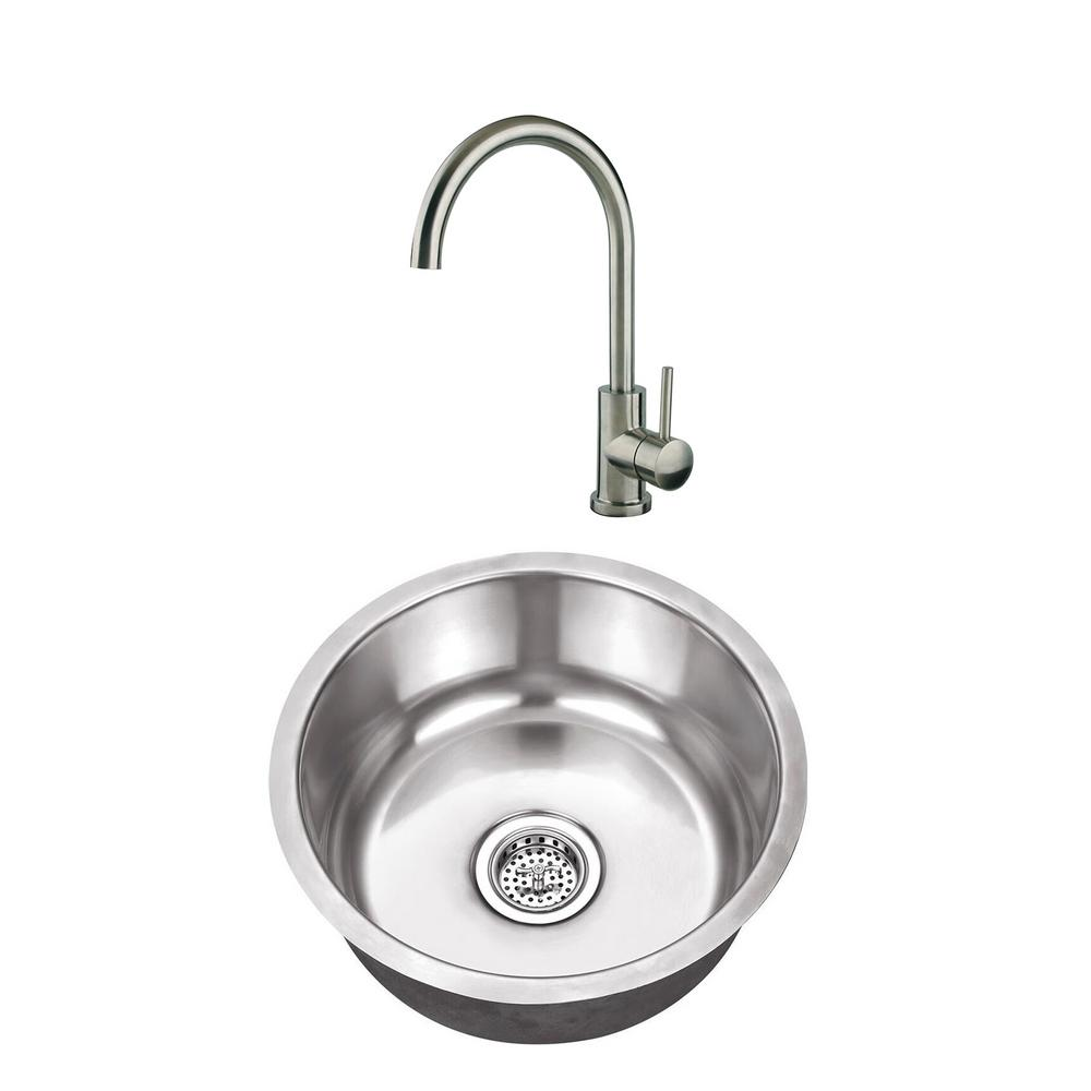 Undermount Stainless Steel 17-1/8 in. Round Single Bowl Bar Sink with