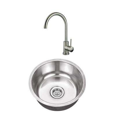 Undermount Stainless Steel 17-1/8 in. Round Single Bowl Bar Sink with Brushed Nickel Faucet