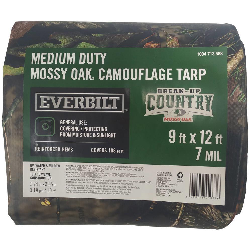 Everbilt 9 ft. x 12 ft. Mossy Oak Camouflage Tarp