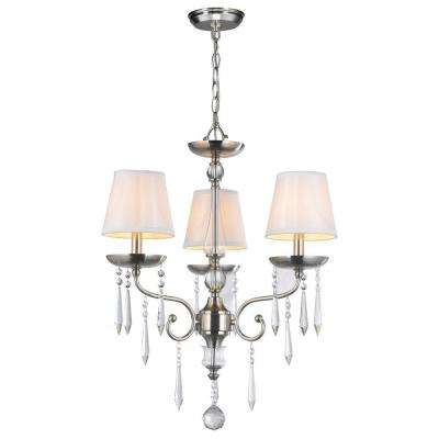 3-Light Brushed Nickel Chandelier with Crystal Adorned White Silk Fabric Shade