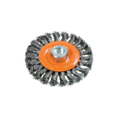 4 in. W Wheel Brush with Knot-Twisted Wires 5/8 in. - 11 in. Arbor