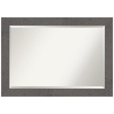 Medium Rectangle Distressed Grey Beveled Glass Modern Mirror (29.38 in. H x 41.38 in. W)