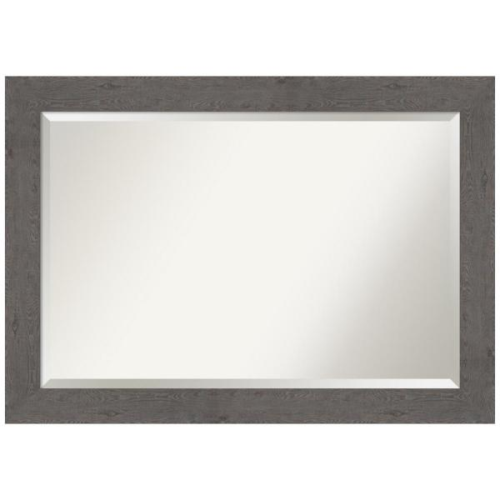 Medium Rectangle Distressed Grey Beveled Glass Modern Mirror (29.38 in. H x 41.38 in. W)