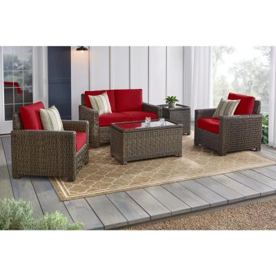 Laguna Point 4-Piece Brown Wicker Outdoor Patio Deep Seating Set with CushionGuard Chili Red Cushions
