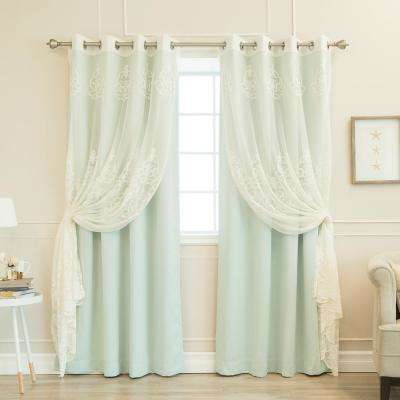 52 in. W x 84 in. L uMIXm Sheer Agatha & Blackout Curtains in Mint (4-Pack)