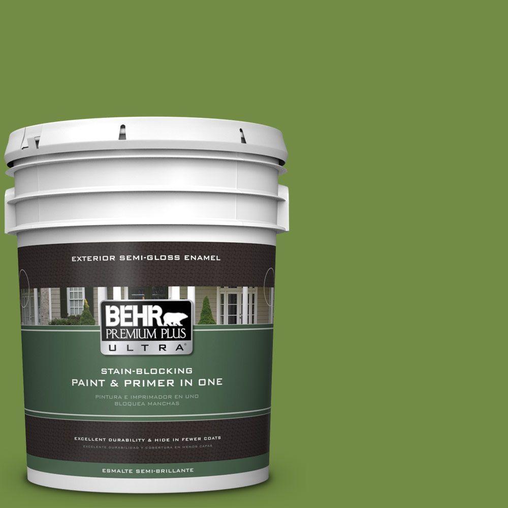 5-gal. #420D-6 Thyme Green Semi-Gloss Enamel Exterior Paint
