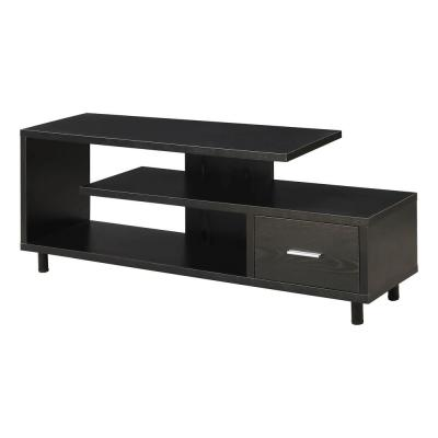Seal II 59 in. Black Melamine Particle Board TV Stand with 1 Drawer Fits TVs Up to 65 in. with Cable Management
