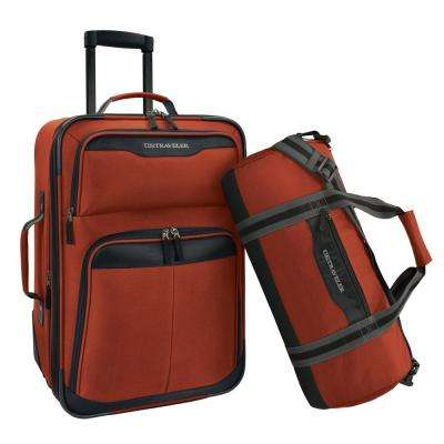 2-Piece Salmon Carry-On Rolling Upright and Duffel Bag Luggage Set