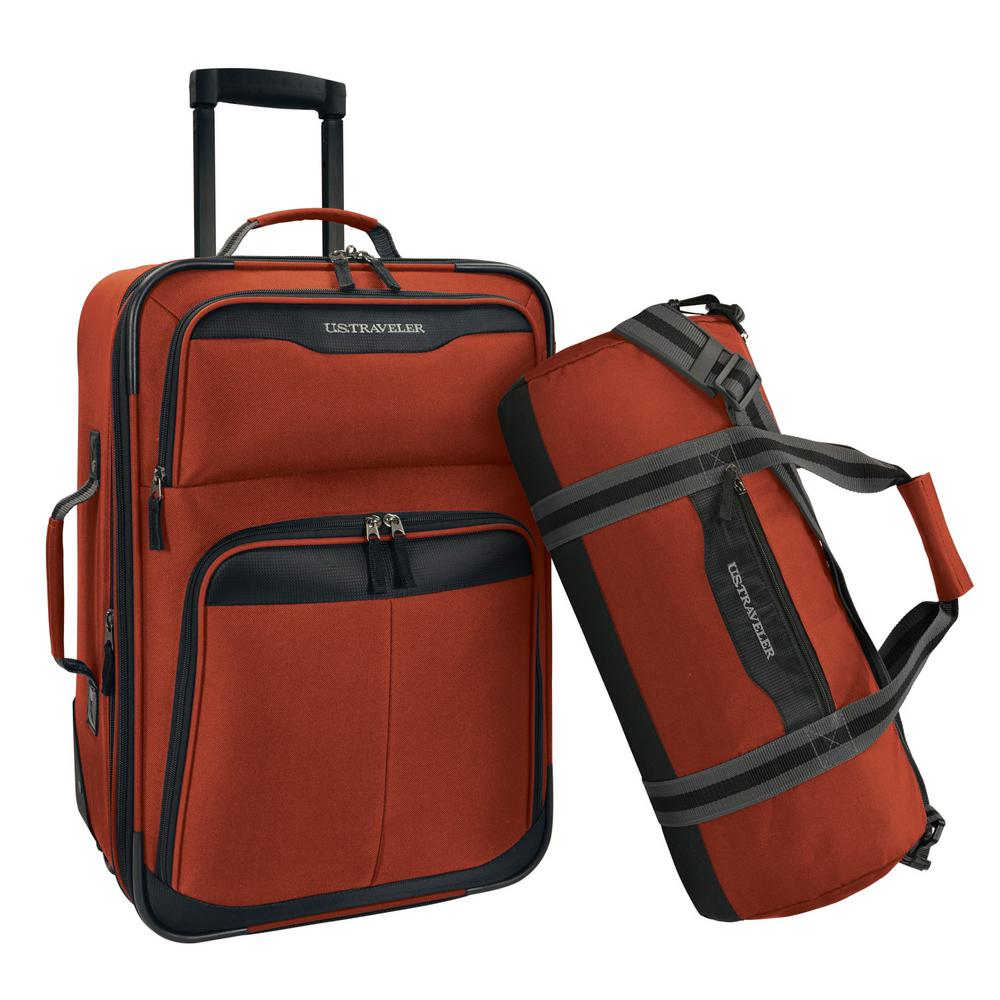 U S Traveler 2 Piece Salmon Carry On Rolling Upright And Duffel Bag Luggage Set