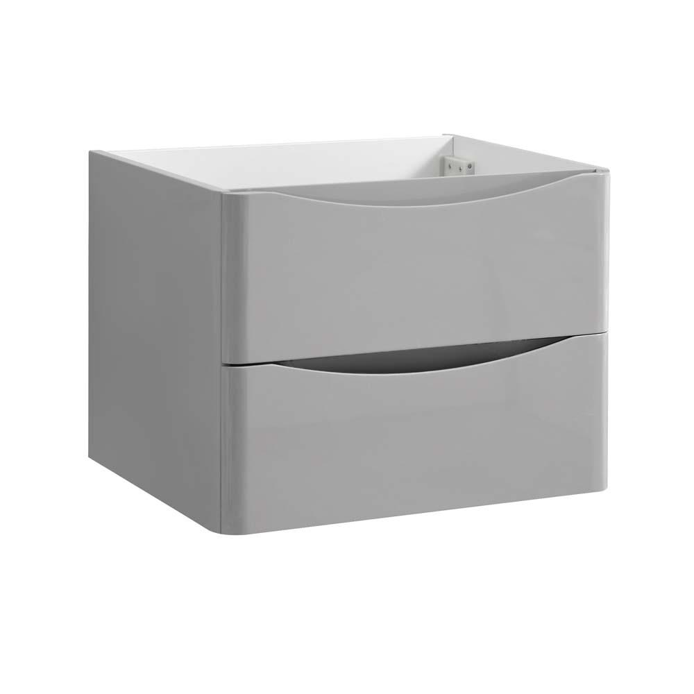 Fresca tuscany 24 in modern wall hung bath vanity cabinet only in glossy gray fcb9024grg the for Wall mounted bathroom vanity cabinet only
