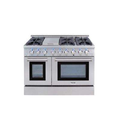 48 in. 6.7 cu. ft. Dual Fuel Range in Stainless Steel