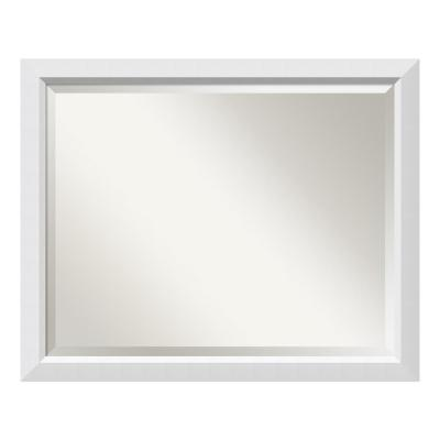Blanco 32 in. W x 26 in. H Framed Rectangular Beveled Edge Bathroom Vanity Mirror in Satin White