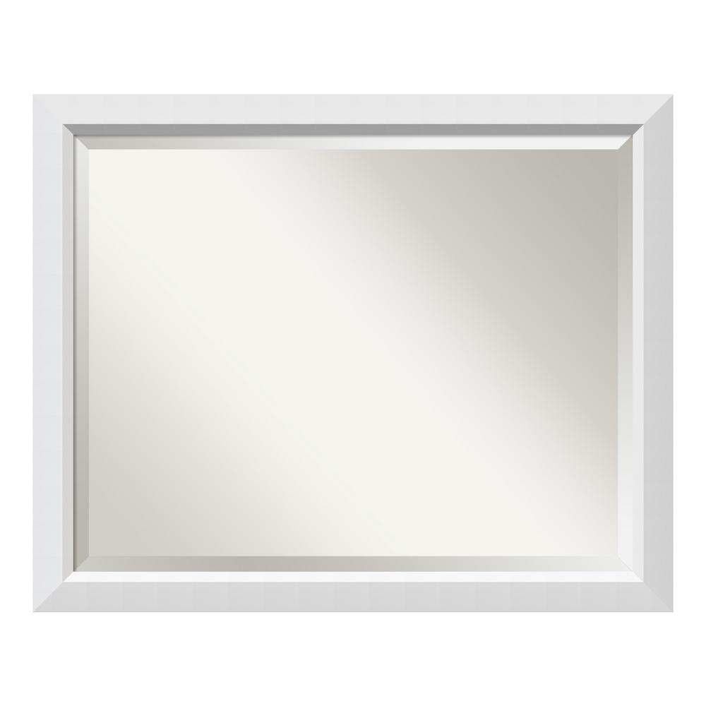Blanco 32 in. W x 26 in. H Framed Rectangular Beveled Edge Bathroom Vanity Mirror in Satin White