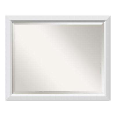 Blanco White Wood 31 in. W x 25 in. H Contemporary Bathroom Vanity Mirror