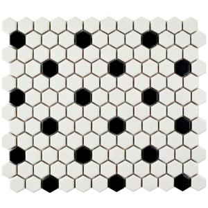 Merola Tile Metro Hex Matte White With Black Dot 10 1 4 In X 11 3 4 In X 6 Mm Porcelain Mosaic