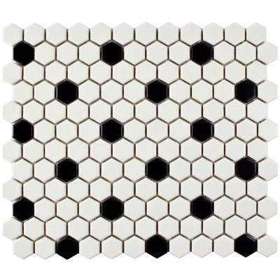 black and white tile floor. Metro Hex Matte White with Black Dot 10 1 4 in  x 11 Hexagon Tile Flooring The Home Depot