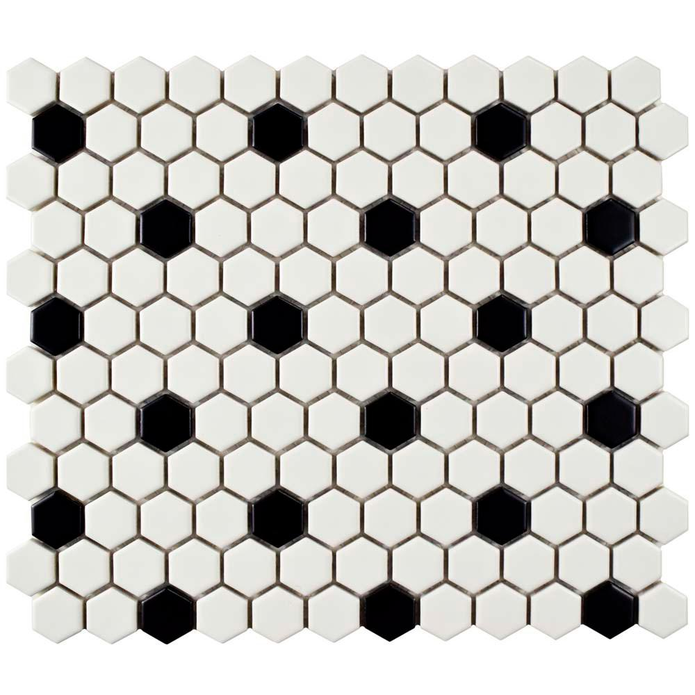 Merola Tile Metro Hex Matte White With Black Dot 10 1 4 In