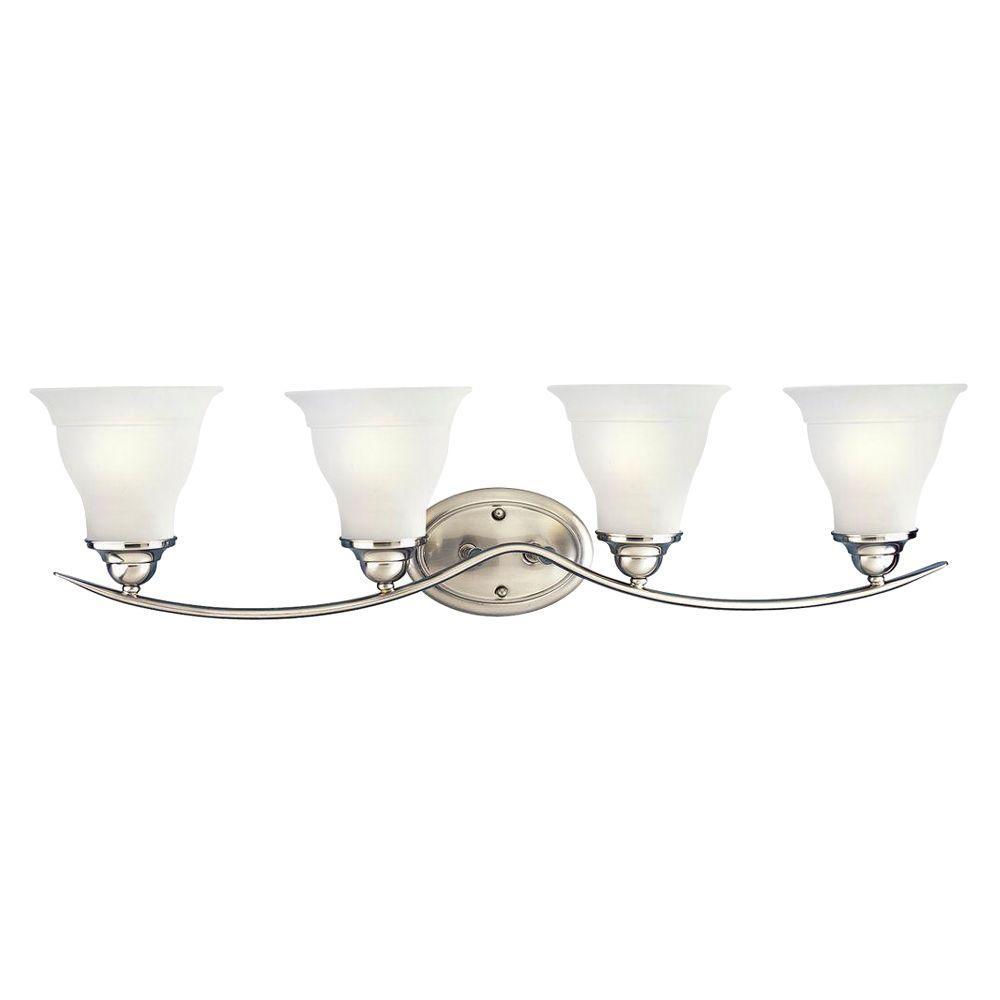 Progress lighting trinity 33 25 in 4 light brushed nickel bathroom vanity light with glass