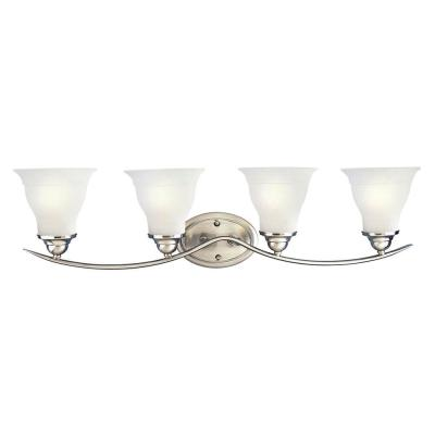 Trinity 33.25 in. 4-Light Brushed Nickel Bathroom Vanity Light with Glass Shades