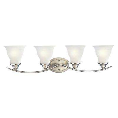 Trinity Collection 4-Light Brushed Nickel Vanity Light with Etched Glass Shades