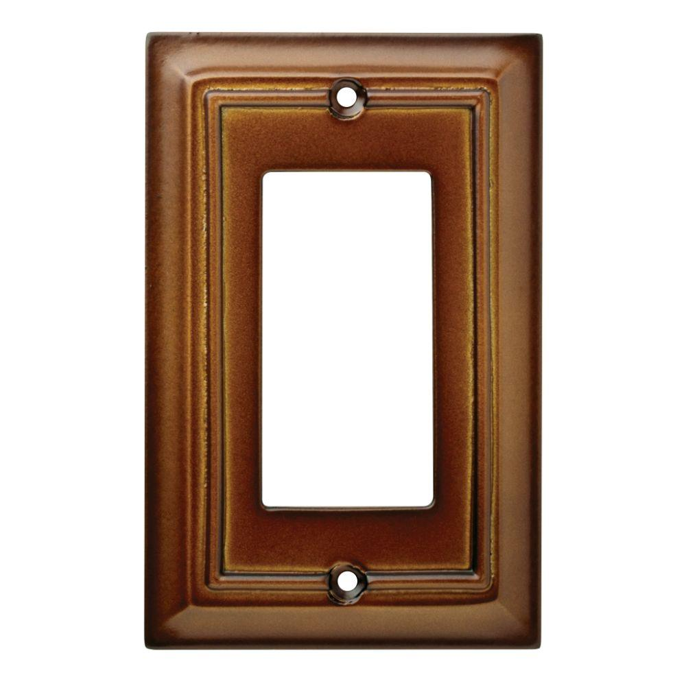Architectural Wood Decorative Single Rocker Switch Plate, Saddle