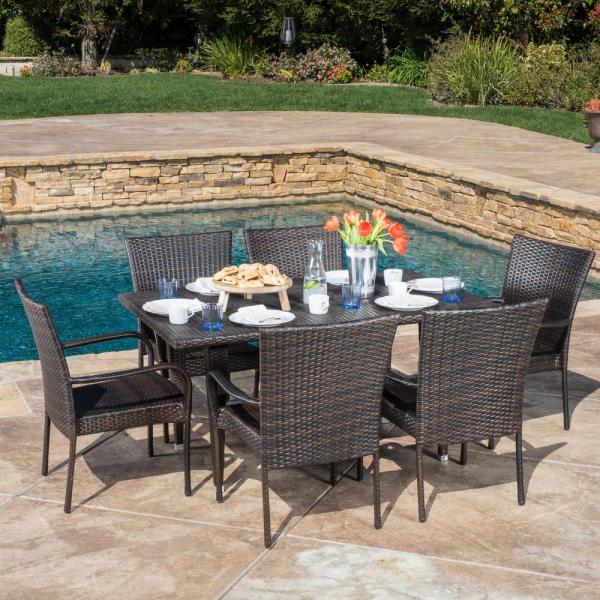 Noble House Delani Multi Brown 7 Piece Wicker Outdoor Dining Set 8208 The Home Depot