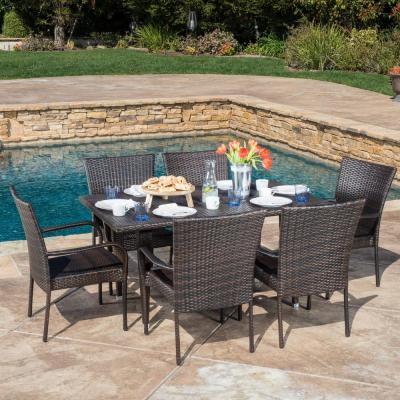 Noble House Delani Multi-Brown 7-Piece Wicker Outdoor Dining Set