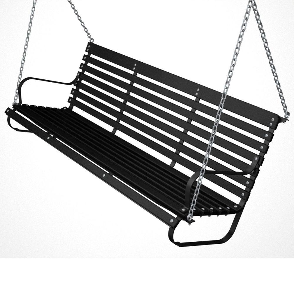 60 in. Black and Black Patio Swing