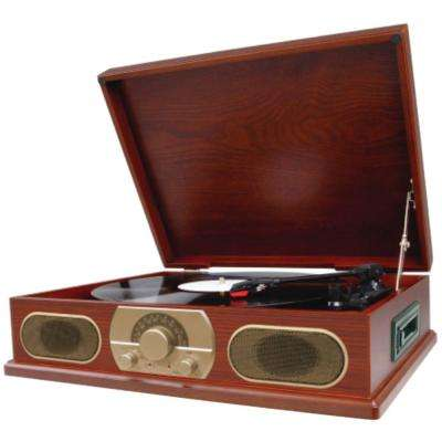 Wooden Turntable with AM/FM Radio and Cassette Player