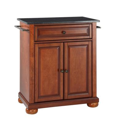 Alexandria Black Portable Kitchen Island with Granite Top