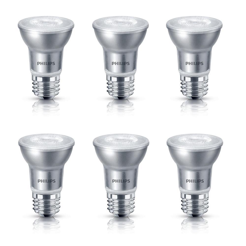 50-Watt Equivalent PAR16 Dimmable LED Light Bulb Glass Bright White (6-Pack)