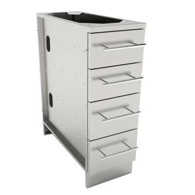 Designer Series 304 Stainless Steel 12 in. x 34.5 in. x 28.25 in. Multi-Drawer Base Cabinet