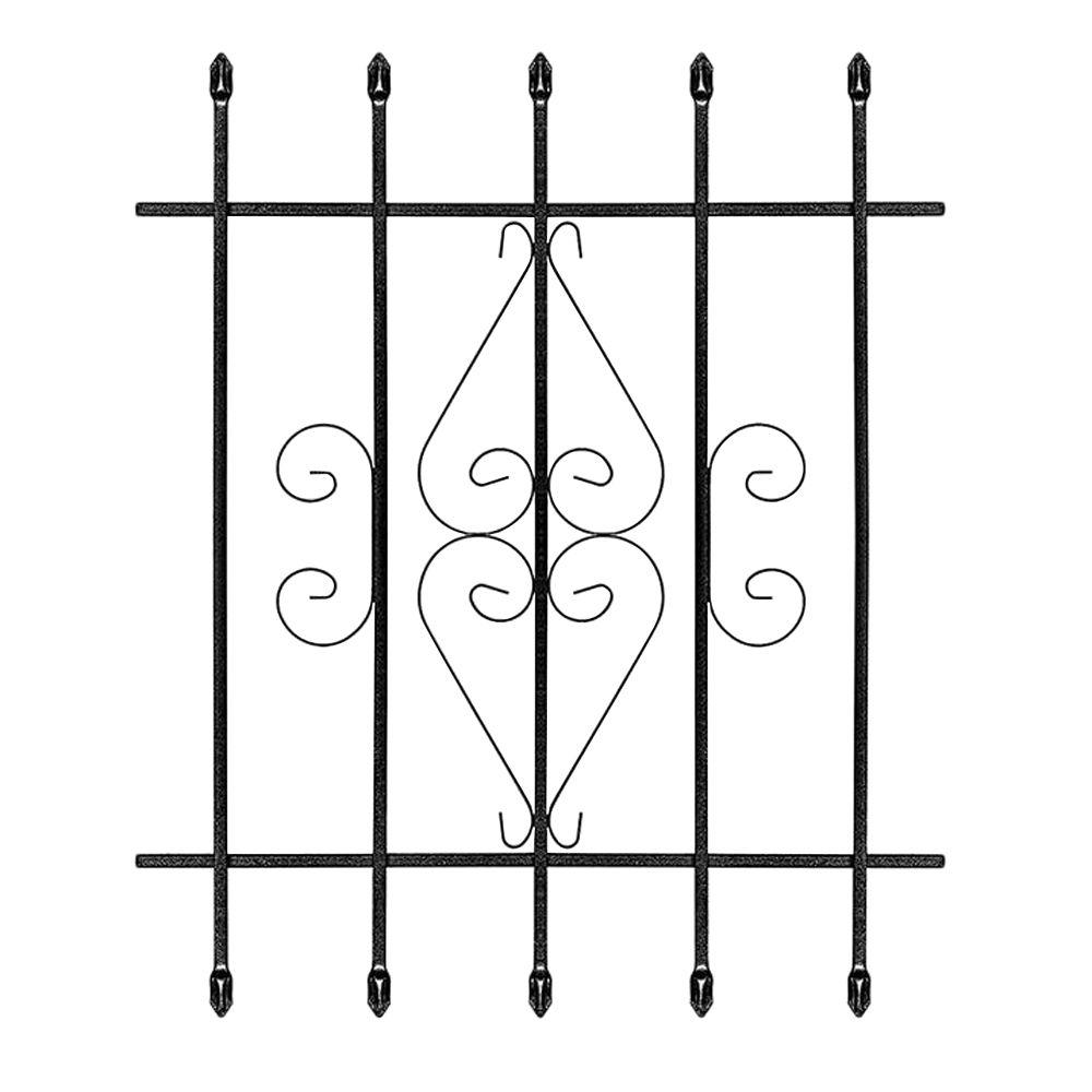Unique Home Designs 30 in. x 36 in. Su Casa Black 5-Bar Window Guard