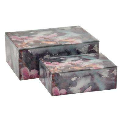 4 in. Glass Box in Pink (Set of 2)