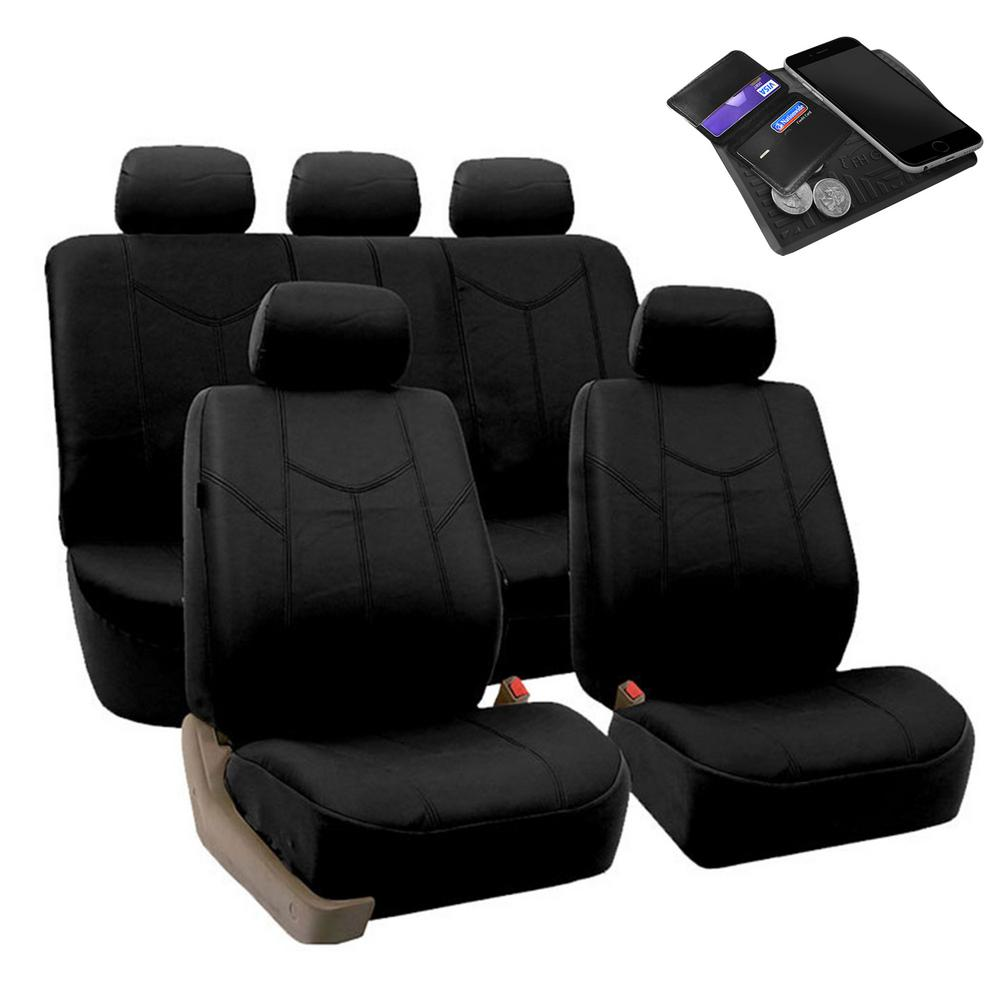 FH Group PU Leather 47 in. x 23 in. x 1 in. Rome Full Set Seat Covers