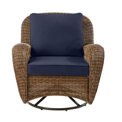 Beacon Park Brown Wicker Outdoor Patio Swivel Lounge Chair with CushionGuard Midnight Navy Blue Cushions