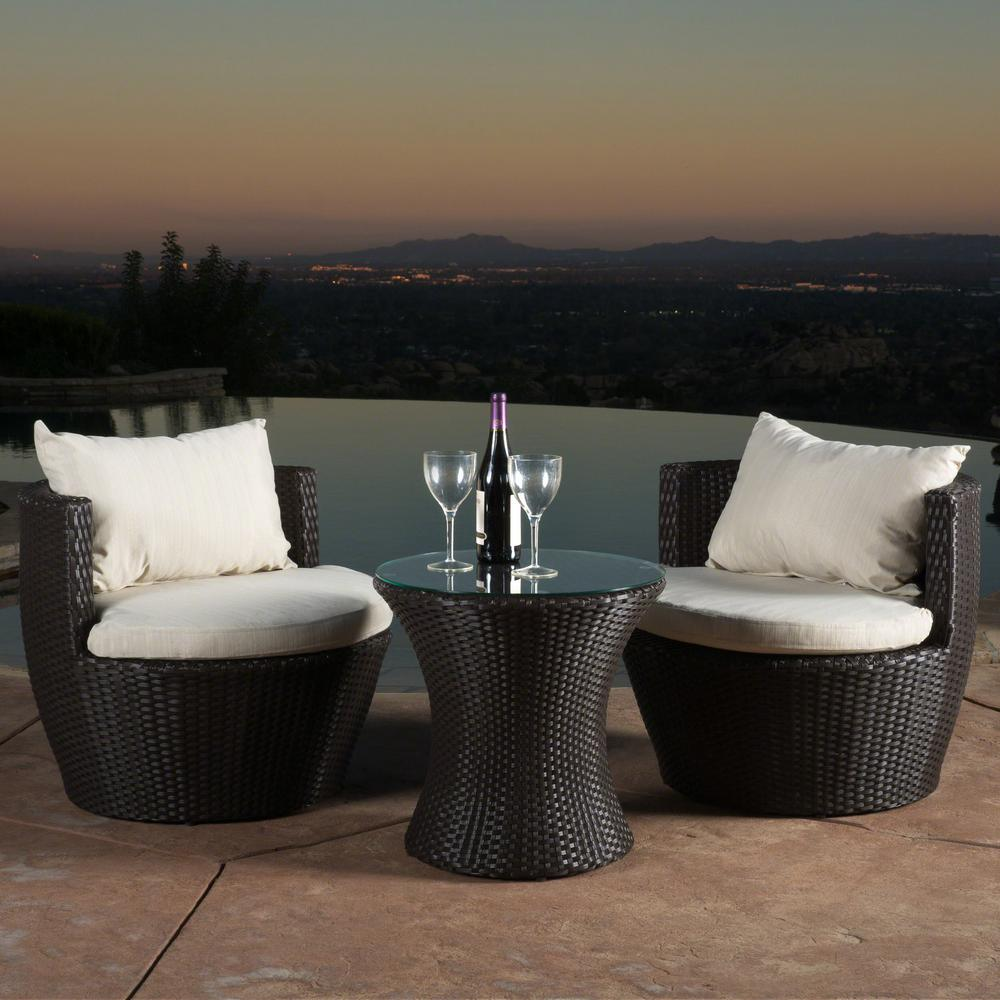 Noble House Kono Brown 3-Piece Wicker Patio Conversation Set with Beige Cushions