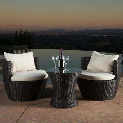 Kono Brown 3-Piece Wicker Patio Conversation Set with Beige Cushions