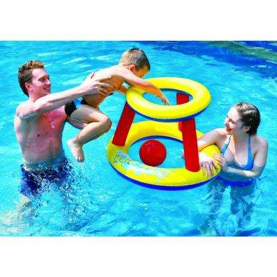 29 in. Red, Yellow and Blue Inflatable Water Basketball Pool Game Set