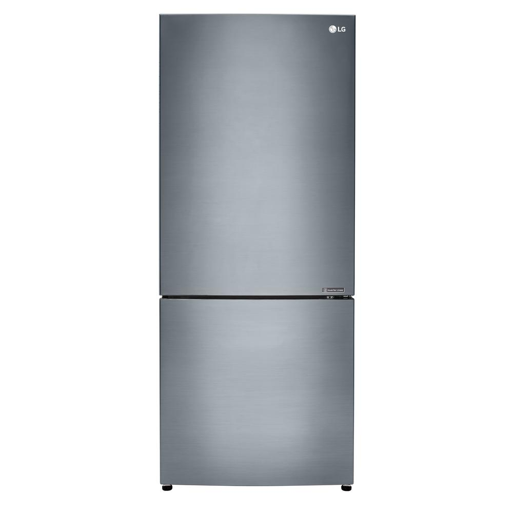 15 Cu Ft Bottom Freezer Refrigerator In Platinum Silver Counter Depth