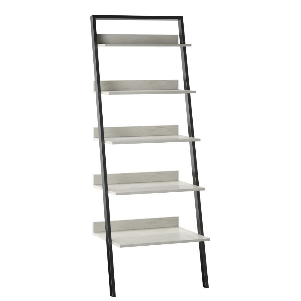80 in. Fairfax Oak Wood 5-Shelf Leaning Bookcase Open Back