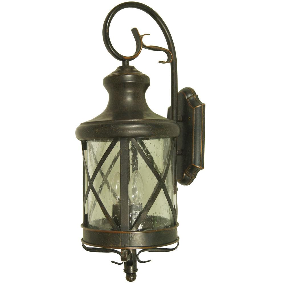 Y Decor Taysom 2 Light Oil Rubbed Bronze Outdoor Wall Mount Lantern