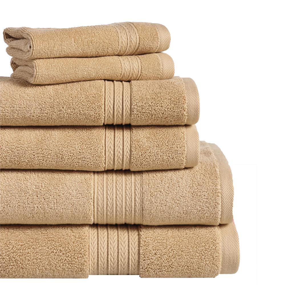 Summit 6-Piece 100% Cotton Bath Towel Set in Straw